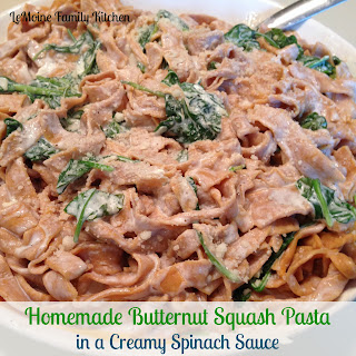 Homemade Butternut Squash Pasta in a Creamy Spinach Sauce