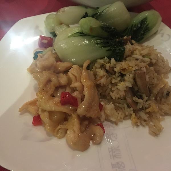 Honey lemon chicken, baby bok choy and mushroom fried rice plated