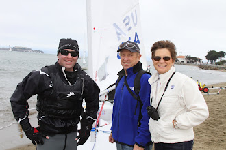 Photo: Jeff's mom and Dad arrive in San Francisco and see the first day's sailing. They are are excited and proud to see their son as he comes off the water.