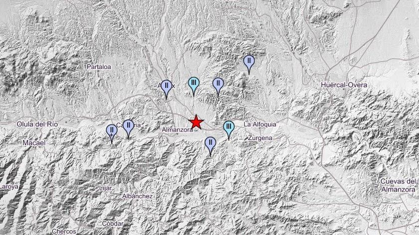 El epicentro del terremoto y otras zonas en las que se ha sentido, en la web del IGN.
