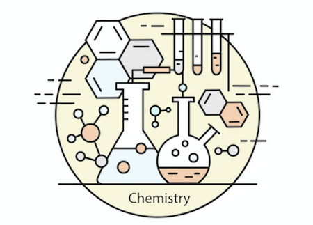 icon representing chemistry molecules and lab beakers