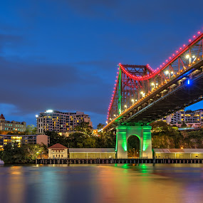 MMPI_20150228_MMPI0021_0067 by Mick McKean - City,  Street & Park  Night ( queensland, structure, night photography, blue hour, brisbane, australia, night, bridge, cityscape, captain burke park, nightscape, river )