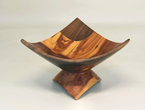 "Photo: Bob Grudburg 5"" x 3"" 3 corner bowl [walnut, red cedar]"