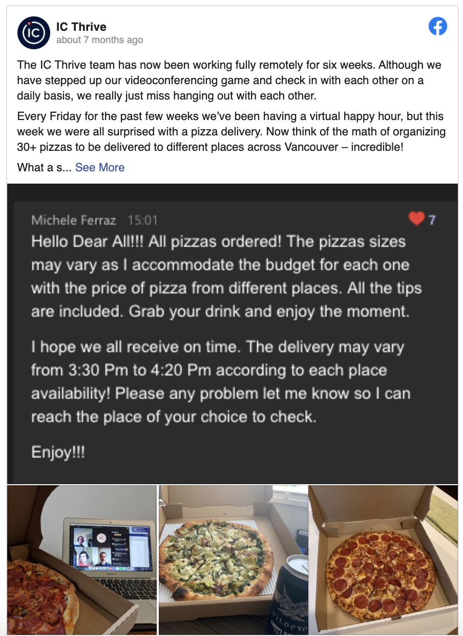 Employee happy hour over video communication platforms... with pizza!