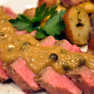 Sauteed Steak with Green Peppercorn Sauce.