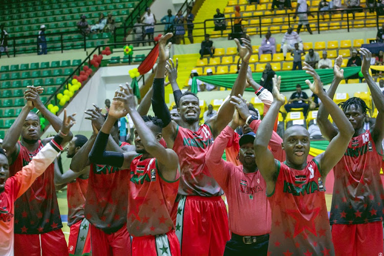 Kenya Morans players celebrate following their win over Morocco