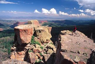 Photo: Mountain Biker at overlook, Cedar Breaks, Dixie National Forest, Utah