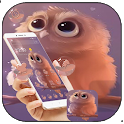 Cute Cartoon Fluffy Owl Theme icon