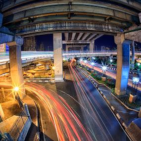 Underneath Bridges by Hiram Abanil - Buildings & Architecture Bridges & Suspended Structures ( magallanes, car trails, light trails )