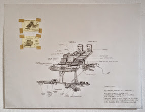 """Photo: """"modern"""" piano, M.I.D.I keyboard, samplers and computers, concept drawing 23.5 x 18 in. 2005  http://www.ethanpettitgallery.com"""