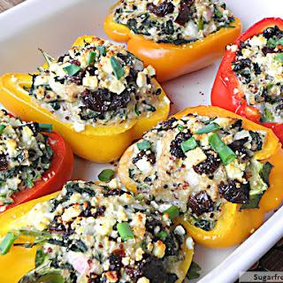 Greek Style Quinoa Chicken Stuffed Peppers.