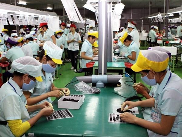 Lao động lắp ráp linh kiện điện tử được trang bị đồ bảo hộ đầy đủ và làm việc trong môi trường sạch sẽ, an toàn