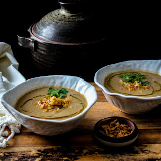 Roasted Miso Cauliflower Mushroom Soup