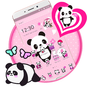 Pink Lovely Panda Theme for PC