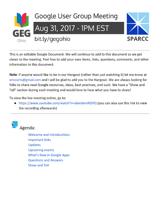 SPARCC Google User Group - 2017-08
