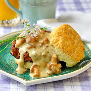 Biscuits with Chanterelle Mushroom Gravy and Chorizo Sausage.