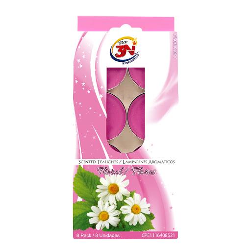 Velas 3N Lamparin Floral 8Und