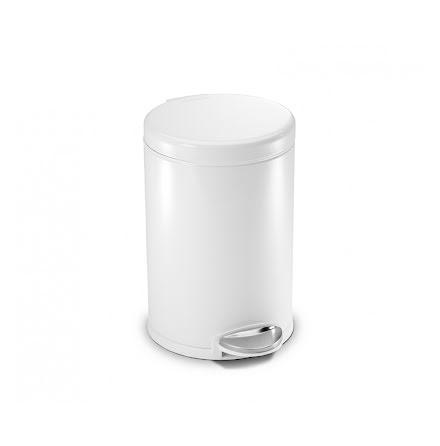 Klassisk rund pedaltunna på 3 liter, vit