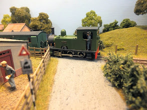 """Photo: 014 0-6-0T Bagnall """"Dennis"""" again, leaving Ryedown Lane on an up working to…….. (wherever the Wessex Light Railway joins the Southern somewhere up the line) ."""