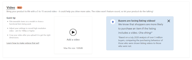 Add videos to Etsy listings