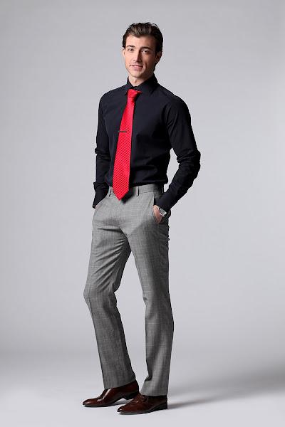Photo: P92 Black shirt. Medium cut away collar, 2-button cut corner cuffs, and black buttons.