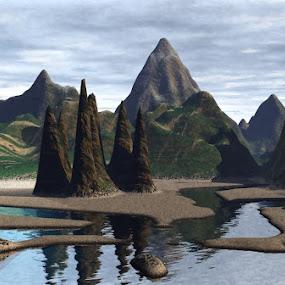Lost island by Linda Czerwinski-Scott - Illustration Sci Fi & Fantasy ( 3d design, 3d, illustration, landscape )