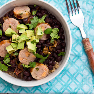 Black Beans with Hatch Chiles, Chicken Sausage, and Quinoa.
