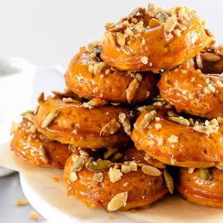 Pumpkin Spiced Donuts with Bourbon Caramel Glaze.