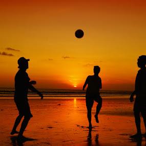 Playing football  by Sam Moshavi - Landscapes Sunsets & Sunrises