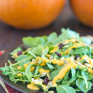 Salad with Pepitas and Pumpkin Dressing.