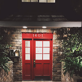 Red Doors by Henk Meyers - Buildings & Architecture Homes ( deep red, gold adornments, foliage, window pane, dark, cobble stone, night, bricks, rough, front of building q )