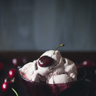 No Churn Cherry Amaretto Ice Cream.