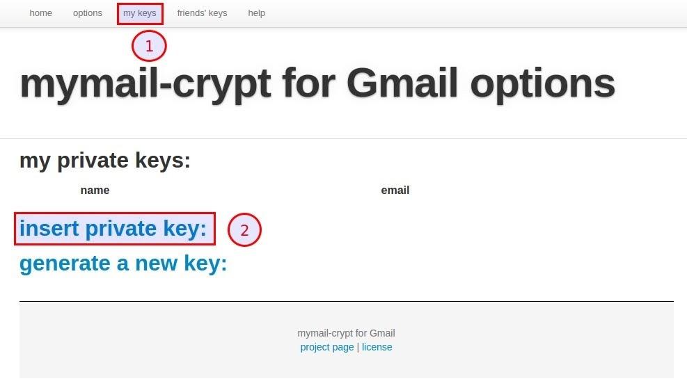 Menu Option MyMail Crypt
