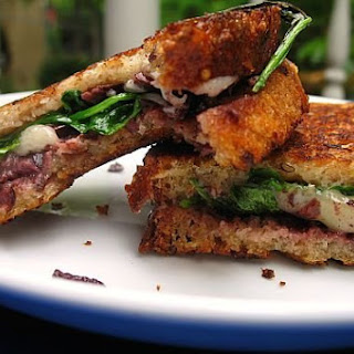 Comte, Olive, and Arugula Grilled Cheese.