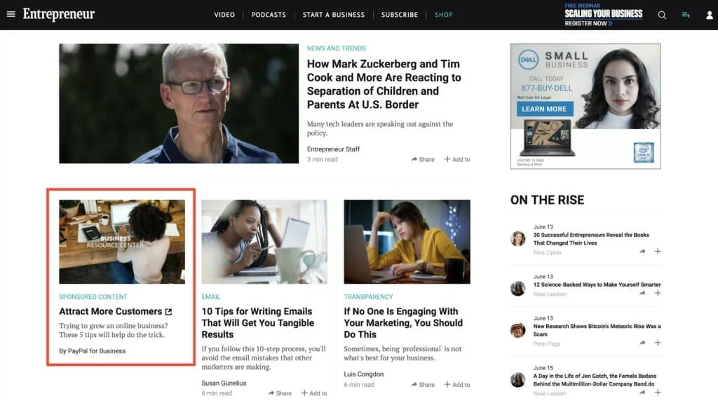 Paypal's Native Advertising - SaaS marketing trend example
