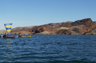 Photo: AZ cliffs rise where several BLM boat-in only campsites are found.
