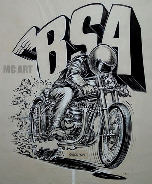 Drag BSA A10, drawing Ed Roth 1969, presented by Machines et Moteurs.