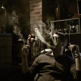 too much smoke by Alex Alex - Digital Art People ( ripped face, smoke, i, gary fong, self portrait, selfie )