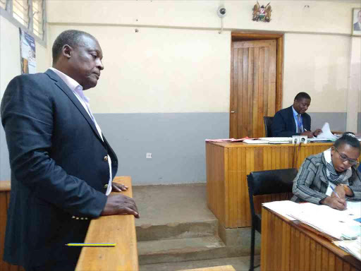 Cyrus Jirongo testifying before Chief Magistrate Charles Obulutsa in a past court session. /FILE