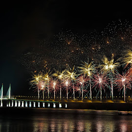 Fireworks at Penang Bridge by Chin Fei Ng - Abstract Fire & Fireworks