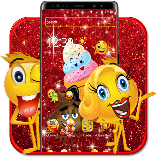 Red Glitter Struck Emoji Theme