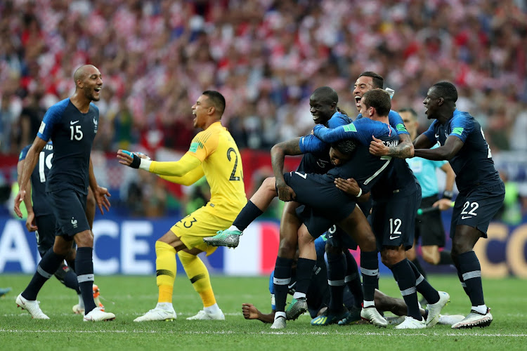 France players celebrate their victory following the 2018 FIFA World Cup Final between France and Croatia at Luzhniki Stadium on July 15, 2018 in Moscow, Russia.