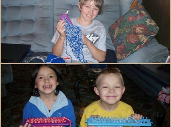 Here are 3 of my Grand kids that are knitting their own scarfs.