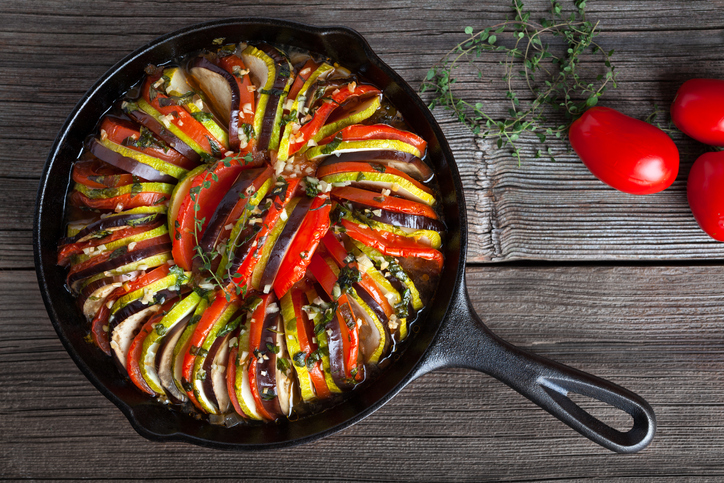 Ratatouille served in a cast-iron skillet