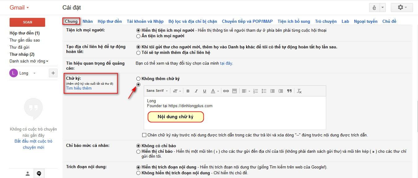 Thiết lập chứ ký gmail