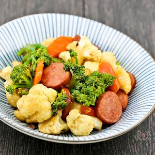 Broccoli, Cauliflower, and Sausage Stir Fry.