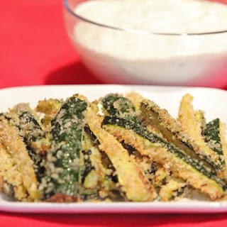 Baked Parmesan Zucchini with Creamy Yogurt Dip