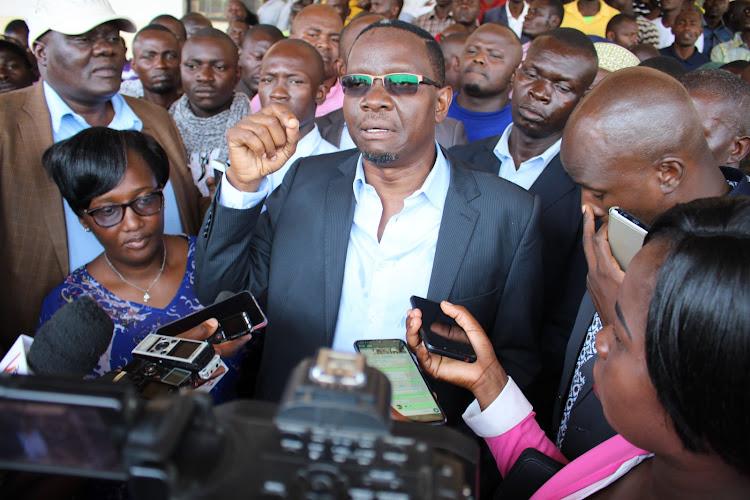 Impeached Kisumu speaker Onyango Oloo addresses journalists in Kisumu.