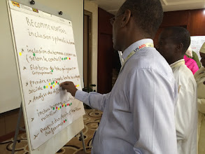 Photo: Food security and nutrition implementers work together to identify opportunities and overcome challenges at the TOPS USAID Niger RISE Knowledge Sharing Workshop in Niamey, Niger in April 2016.  Submitted by CORE Group