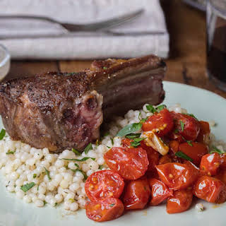Lamb Chops with Mustard Shallot Sauce, Roasted Tomatoes & Pearl Couscous.